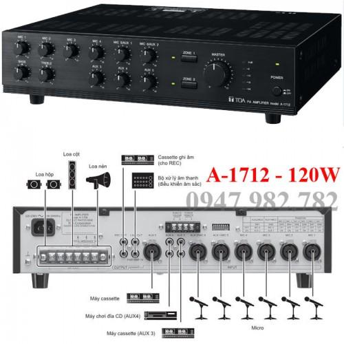 Amply Toa A-1712, 120W, chọn 2 vùng loa, đại lý, phân phối,mua bán, lắp đặt giá rẻ