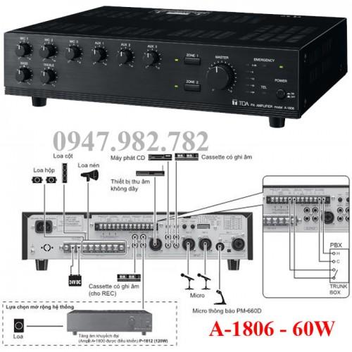Amply Toa A-1806 Mixer 60W, đại lý, phân phối,mua bán, lắp đặt giá rẻ