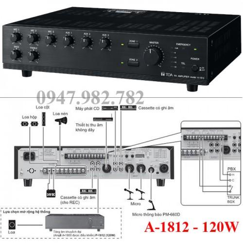 Amply Toa A-1812 Mixer 120W, đại lý, phân phối,mua bán, lắp đặt giá rẻ