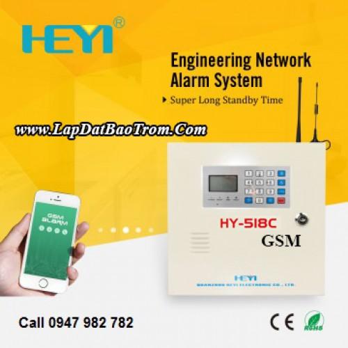 Tủ báo động HEYI  HY-518C (GSM+GPRS), APP điện thoại IOS,Android (báo trộm), đại lý, phân phối,mua bán, lắp đặt giá rẻ