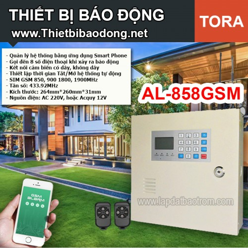 Thiết bị chống trộm TORA AL-858GSM, APP điện thoại IOS,Android (báo trộm)