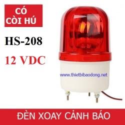 Đèn xoay cảnh báo  báo động có còi có dây HS-208 nguồn 12V