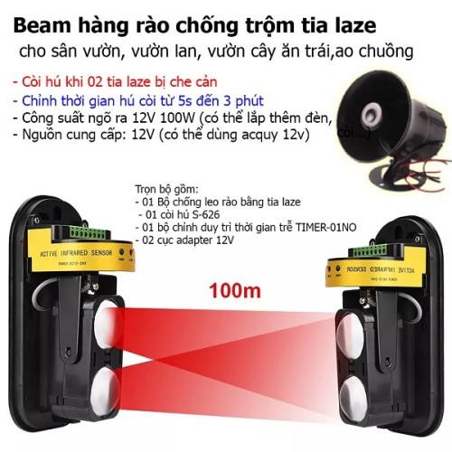 Bộ báo trộm chống leo hàng rào bằng tia laze ABT-100V3, đại lý, phân phối,mua bán, lắp đặt giá rẻ
