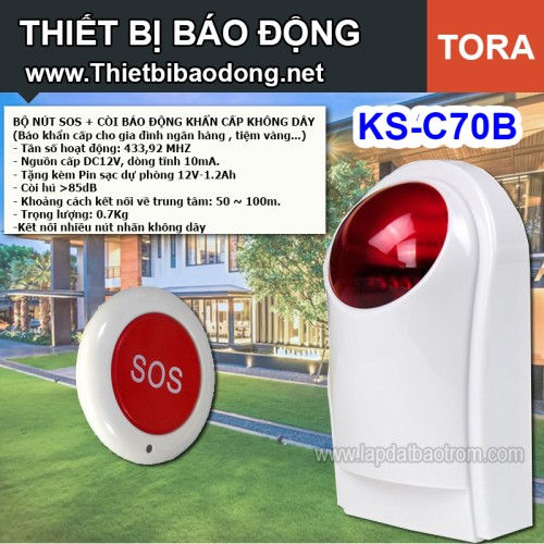 Còi hú báo động chống trộm KSA-C70D không dây, có pin dự phòng, đại lý, phân phối,mua bán, lắp đặt giá rẻ