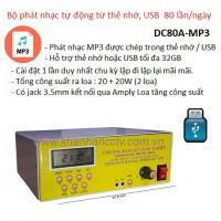 Bộ phát nhạc tự động từ thẻ nhớ, USB DC80A-MP3, 80 lần / ngày