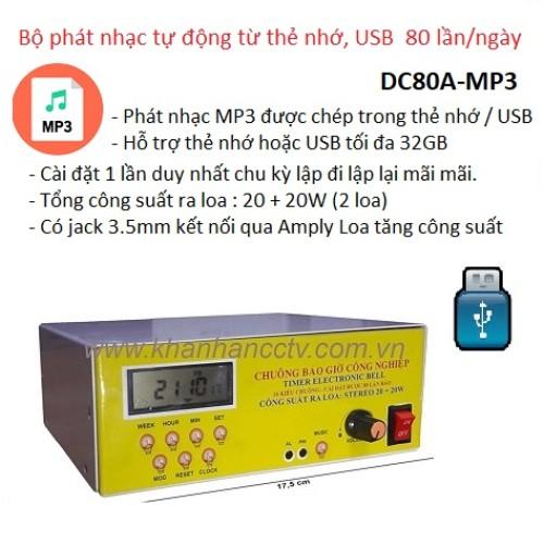 Bộ phát nhạc tự động từ thẻ nhớ, USB DC80A-MP3, 80 lần / ngày, đại lý, phân phối,mua bán, lắp đặt giá rẻ