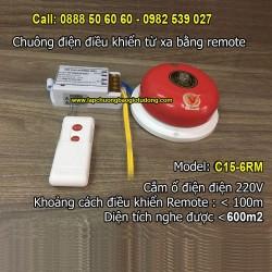 Chuông điện điều khiển từ xa bằng remote C15-6RM, độ vang < 600m2
