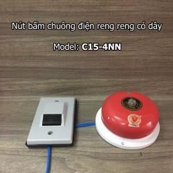 Nút bấm kèm chuông điện reng reng có dây C15-4NN dùng điện 220V reo lớn vang xa