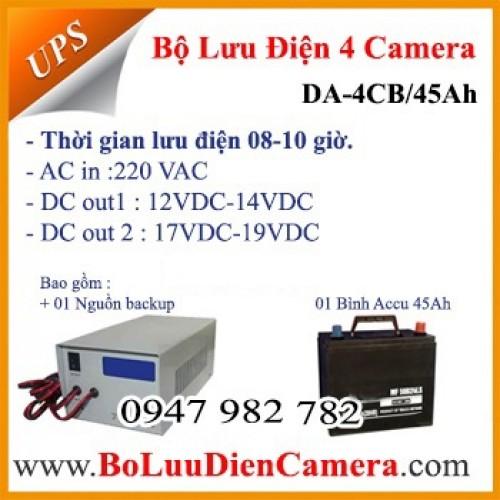 Bộ nguồn lưu điện cho 04 camera DA-4CB/45Ah 12VDC, đại lý, phân phối,mua bán, lắp đặt giá rẻ