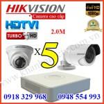 Lắp đặt trọn gói 5 camera HIKVISION 2.0M 1080P