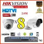 Lắp đặt trọn gói 8 camera HIKVISION 2.0M 1080P
