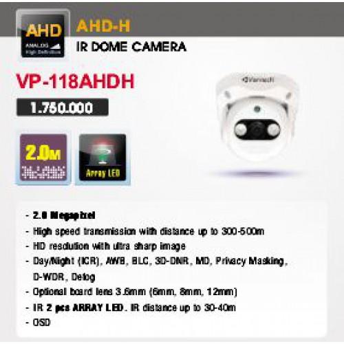 Camera Vantech Dome AHD VP-118AHDH 2.0MP, đại lý, phân phối,mua bán, lắp đặt giá rẻ