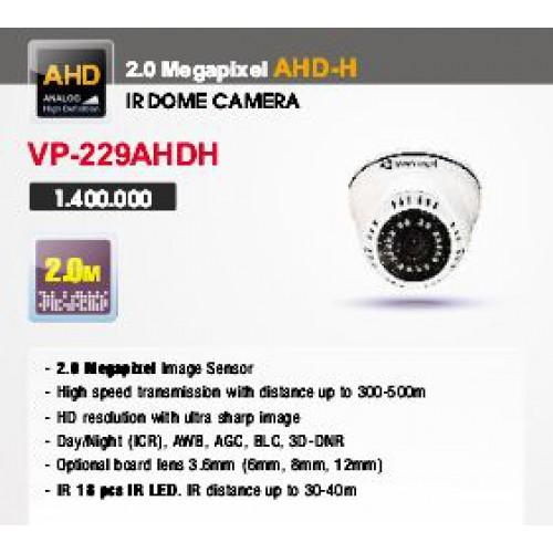 Camera Vantech Dome AHD VP-229AHDH 2.0MP, đại lý, phân phối,mua bán, lắp đặt giá rẻ