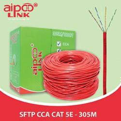Cáp mạng Aipoo Link SFTP CCA CAT5E Hợp Kim, 24AWG 0.51m, Đỏ