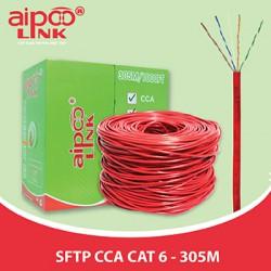 Cáp mạng Aipoo Link SFTP CCA CAT6 Hợp Kim, 23AWG 0.57m, Đỏ