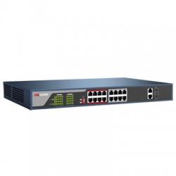 Switch mạng 16 cổng PoE DS-3E0318P-E(B), 2 uplink 10/100/1000M
