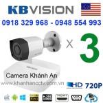 Trọn gói 3 camera KBVISION HDCVI 720P