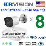 Trọn gói 8 camera KBVISION HDCVI 720P
