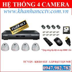 Bộ 4 Camera quan sát trọn gói J-TECH SUPER D210I (600TVL)