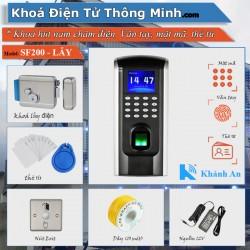 Bộ khóa Cổng SF200 kiểm soát Vân tay mật mã thẻ từ (khoá lẫy điện)