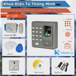 Bộ khóa Cổng X7 kiểm soát Vân tay mật mã thẻ từ ( khoá lẫy điện )