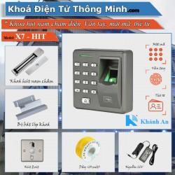 Bộ kiểm soát ra vào dùng vân tay, thẻ từ kobio x7 lắp cửa Gỗ