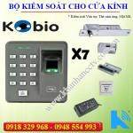 Bộ kiểm soát ra vào dùng vân tay, thẻ từ kobio x7 cửa kính