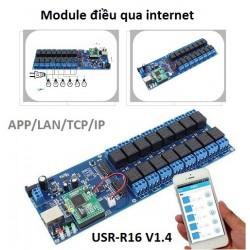 Module điều khiển từ xa bằng điện thoại APP internet 16 kênh USR-R16-T (TCP IP LAN, hẹn giờ)