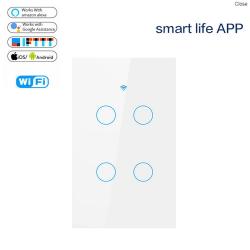 Công tắc WIFI Tuya Smart DW-M3US 4 nút, điều khiển bằng điện thoại