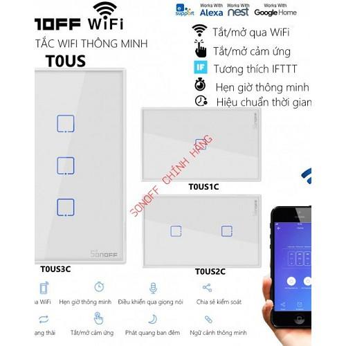 Công tắc WiFi cảm ứng T0 1 cổng SONOFF T0US1C (chữ nhật), đại lý, phân phối,mua bán, lắp đặt giá rẻ