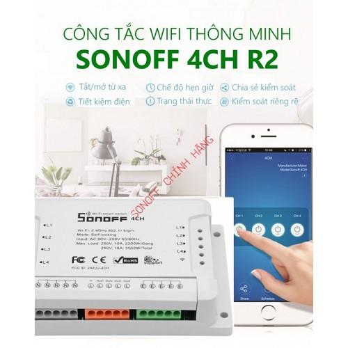 Công tắc WiFi 4 cổng SONOFF 4CH R2 / 4CH, đại lý, phân phối,mua bán, lắp đặt giá rẻ