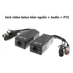 Jack video balun kèm nguồn + Audio + PTZ RJ45 cat5, cat6