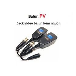 Jack video balun PV kèm nguồn RJ45 cat5, cat6