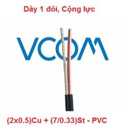 Dây thuê bao Dropwire VCOM 1 đôi, có cường lực (2x0.5)Cu - PVC