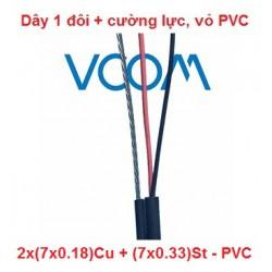 Dây thuê bao Dropwire VCOM 1 đôi, 7 tim, có cường lực 2x(7x0.18)Cu - PVC