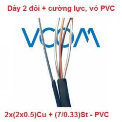 Dây thuê bao Dropwire VCOM 2 đôi, có cường lực 2x(2x0.5)Cu - PVC