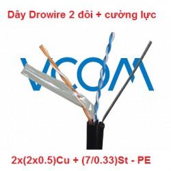 Dây thuê bao Dropwire VCOM 2 đôi, có cường lực 2x(2x0.5)Cu - PE