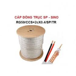 Cáp đồng trục SINO kèm nguồn,Trắng RG59/CCS+2CX0.4/SP/TR
