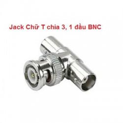 Jack Chữ T chia 3, 1 đầu BNC
