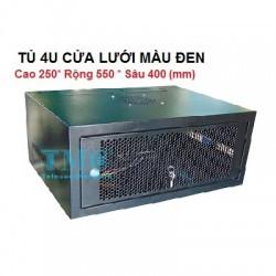 Tủ rack 4U sâu 400, treo tường, cửa lưới, màu đen