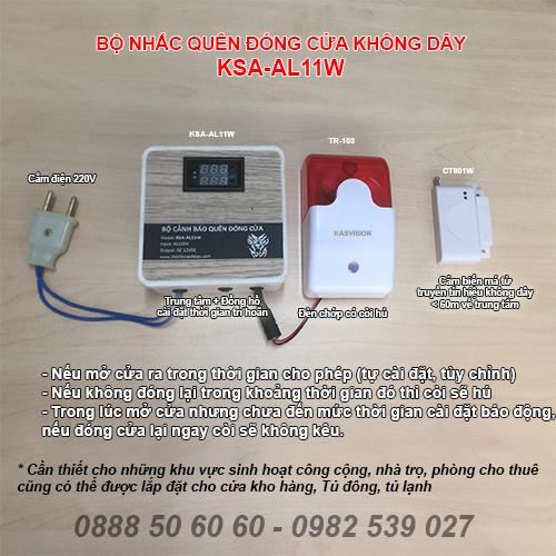 Bộ cảnh báo quên chưa đóng cửa (không dây) KSA-AL11W, đại lý, phân phối,mua bán, lắp đặt giá rẻ