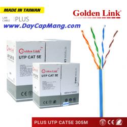 Cáp mạng Golden Link PLUS UTP Cat5e đồng nguyên chất (Trắng sọc xanh) 305M