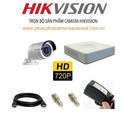 Trọn bộ 1 camera HIKVISION 1.0MP TVI cho Xưởng,Nhà Máy,Cty,Văn phòng,Shop...