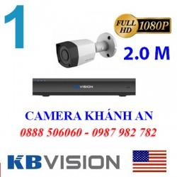 Trọn bộ 1 camera KBVISION 2.0MP CVI cho Xưởng,Nhà Máy,Cty,Văn phòng,Shop...