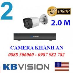 Trọn bộ 2 camera KBVISION 2.0MP CVI cho Gia đình,Cty,Văn phòng,Shop...