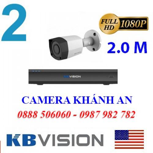 Bộ trọn gói 2 camera KBVISION giá rẻ 2.0 MP, đại lý, phân phối,mua bán, lắp đặt giá rẻ