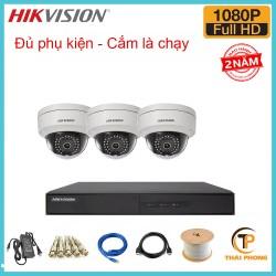 Bộ trọn gói 3 camera HIKVISION giá rẻ 2.0 MP