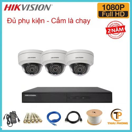 Bộ trọn gói 3 camera HIKVISION giá rẻ 2.0 MP, đại lý, phân phối,mua bán, lắp đặt giá rẻ