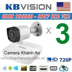 Trọn bộ 3 camera KBVISION 1.0MP CVI cho Gia đình,Cty,Văn phòng,Shop...