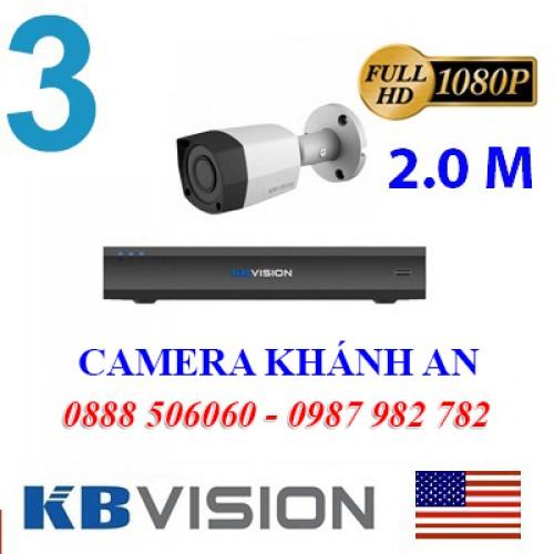 Bộ trọn gói 3 camera KBVISION giá rẻ 2.0 MP, đại lý, phân phối,mua bán, lắp đặt giá rẻ